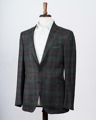 Isaia $3,895 Green Pink Plaid 'Sanita' Wool Cashmere Blend Sport Coat 48 IT 38