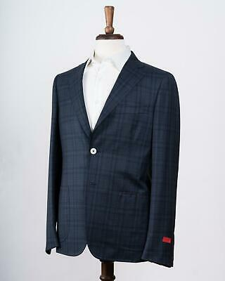 Isaia Navy Blue Plaid Wool Trim Fit 'Cortina' Two Button Suit 52 IT 42 US