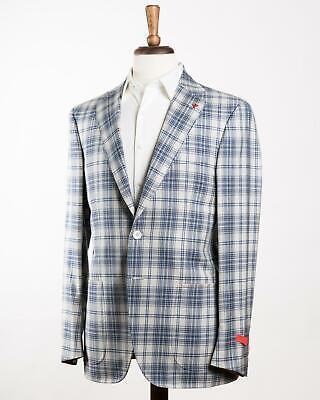 Isaia 'Sanita' Light Gray Blue Plaid 2 Button Wool Sport Coat 50 IT 40 US