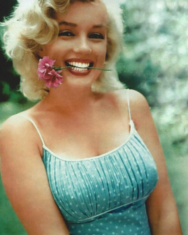 Marilyn Monroe Flower In The Mouth 8x10 Photo Print