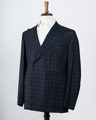 Isaia Navy Blue Plaid Super 130's Wool Double Breasted Suit 46 IT 36 US