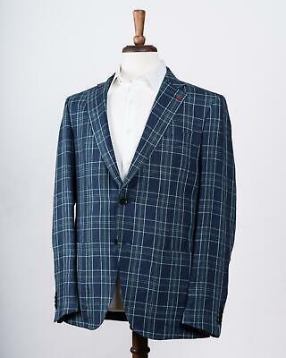 Isaia NWT Blue Green Plaid 'Gregory' 100% Hemp Sport Coat 48 IT 38 US