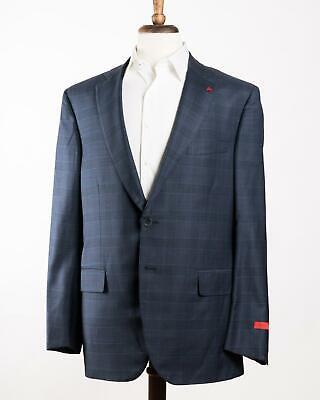 Isaia 'Sanita' Blue Purple Check Super 160's Wool Aquaspider Suit 56 IT 46 44 US