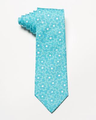 "(Isaia NWT $230 Light Blue Tonal White Floral Pattern Cotton Silk Blend Tie 3"")"