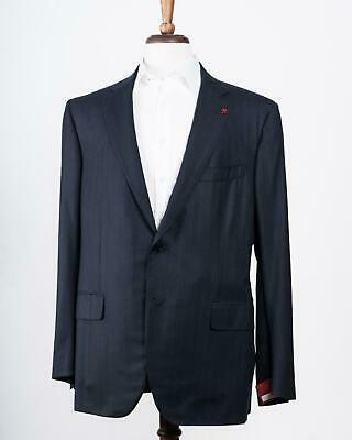 Isaia Navy Blue Striped 160's Wool 'Sanita' Two Button Suit 58 IT 48 US