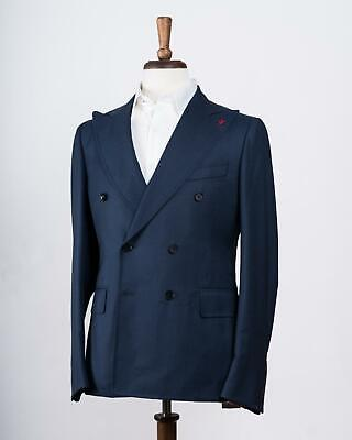 Isaia $4,695 Blue Unito Wool Double Breasted 'Cortina' Trim Fit Suit 46 IT 36 US