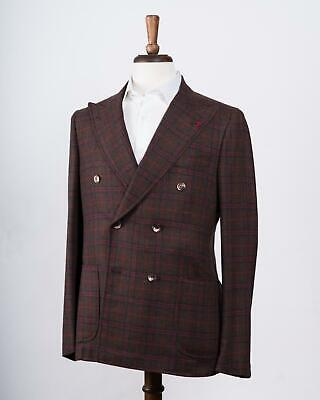Isaia Brown Red Plaid Wool Cashmere Double Breasted Sport Coat 50 IT 40 US