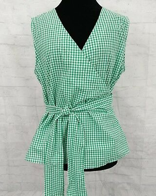 Beach Lunch Lounge Marly Green Gingham Sleeveless Top Womens Large NEW (Green Gingham)