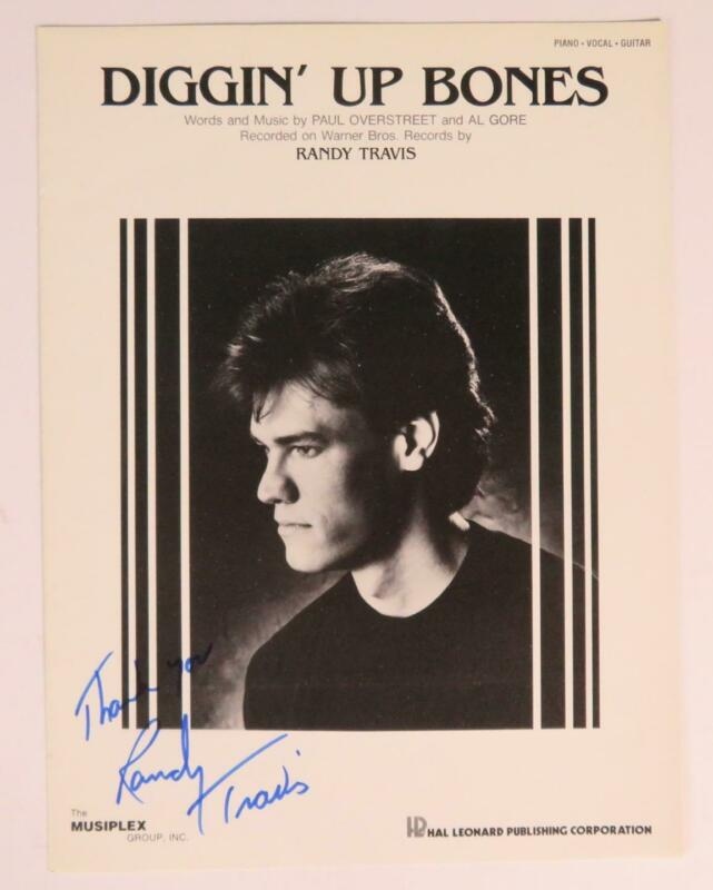 "RANDY TRAVIS Signed Autograph ""Diggin' Up Bones"" Sheet Music"