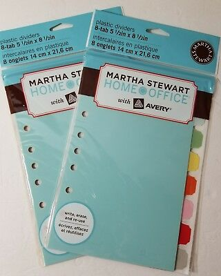 Avery Martha Stewart Plastic Dividers 8-tab 5.5 X 8.5 2 Paq.