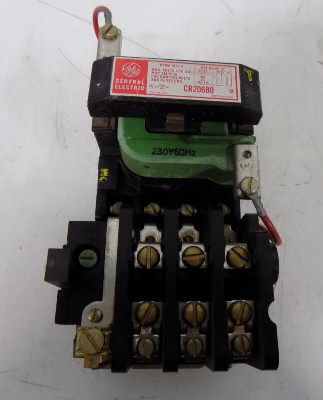 GENERAL ELECTRIC 18A 600V NEMA SIZE 0 CONTACTOR/ STARTER CR206B0