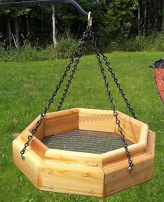 Handmade hanging octagon platform cedar wood bird/squirrel feeder, TBNUP #1SM