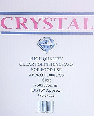 1000x LDPE CRYSTAL CLEAR POLY BAGS 120 GAUGE (1000x GROCERY & FOOD BAGS )
