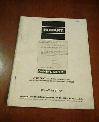 Hobart Beta Mig Rc1-200 Owners Manual Welder Single Phase Welding Machine