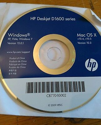 Hp Deskjet D1600 Printer Software Driver Disk Disc Windows 7 Vista Xp Mac Os X