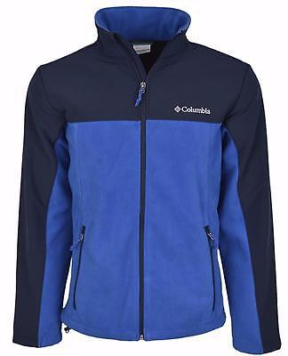 New Columbia Men's Lookout Trail II Blue Fleece Windproof Zip Front Jacket M Columbia Fleece Windproof Jacket