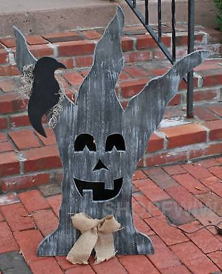 Lighted Wood Spooky Halloween Tree Lawn Decor Hand-Crafted in USA New