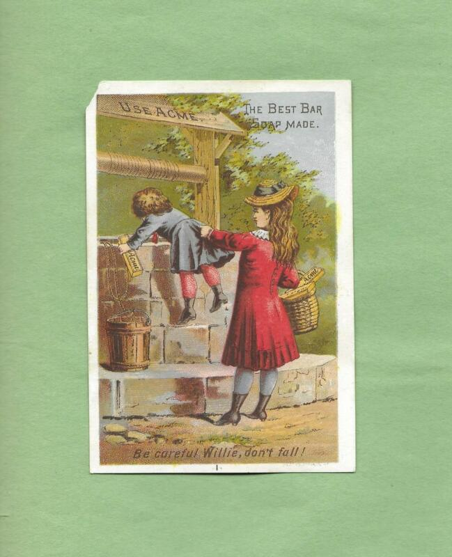 MOTHER WATCHES GIRL LOOK INTO WELL On LAUTZ BROS. SOAP Victorian Trade Card