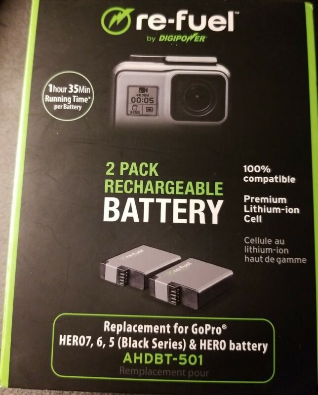 Digipower Re-fuel 2 Pack Replacement Battery for GoPro Hero