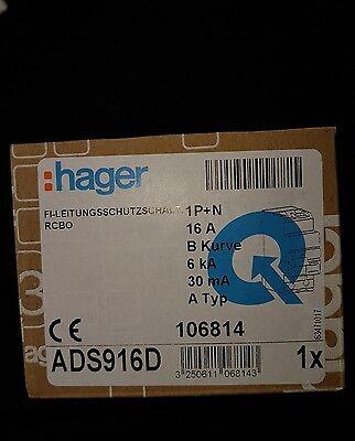 Hager ADS916D FI-LS-Kombischalter 1 polig 16A 0,03A neu