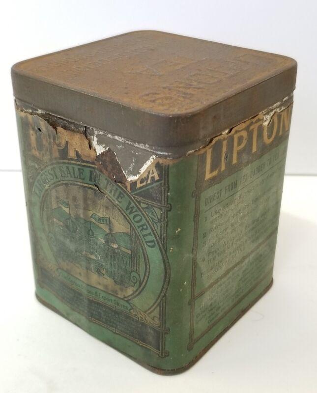 Vintage Lipton Tea Tin Vintage Lipton Advertising Antique Metal / Paper Label