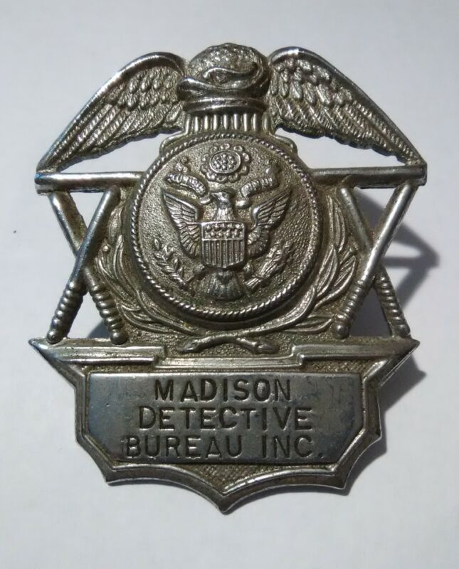 MADISON DETECTIVE BUREAU INC. VINTAGE VAULT HAT BADGE GREAT FOR ANY COLLECTION!