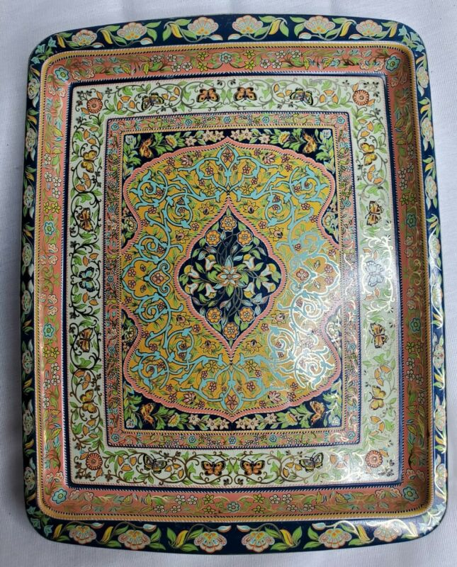 Vintage England Daher Decorated Ware Small Metal Tray Persian Art Long Island