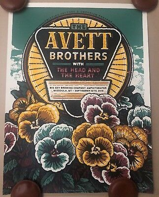 Avett Brothers Poster Big Sky Amphitheater Missoula Montana 2018 A/P