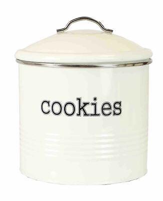 Tin Cookie Jar - Home Basics Tin Cookie Jar, Ivory - CS47394