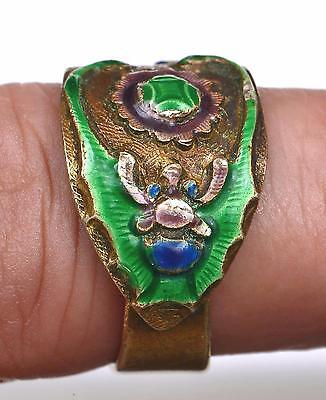 Old Chinese Gilt Silver Enamel Adjustable Ring Band Repousse Butterfly