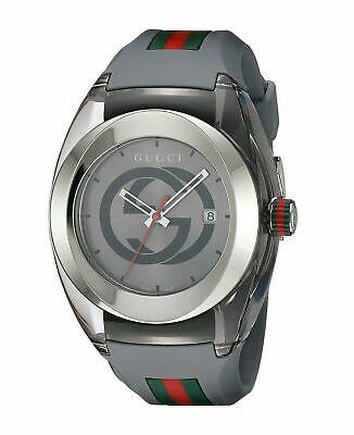 New Gucci Sync XXL YA137109 Gray Rubber Band Gray Dial Unisex Watch