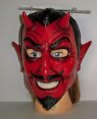 ADULT RED CLASSIC DEVIL LATEX FACE MASK HALLOWEEN COSTUME ACCESSORY TB22042 - Devil Face Mask