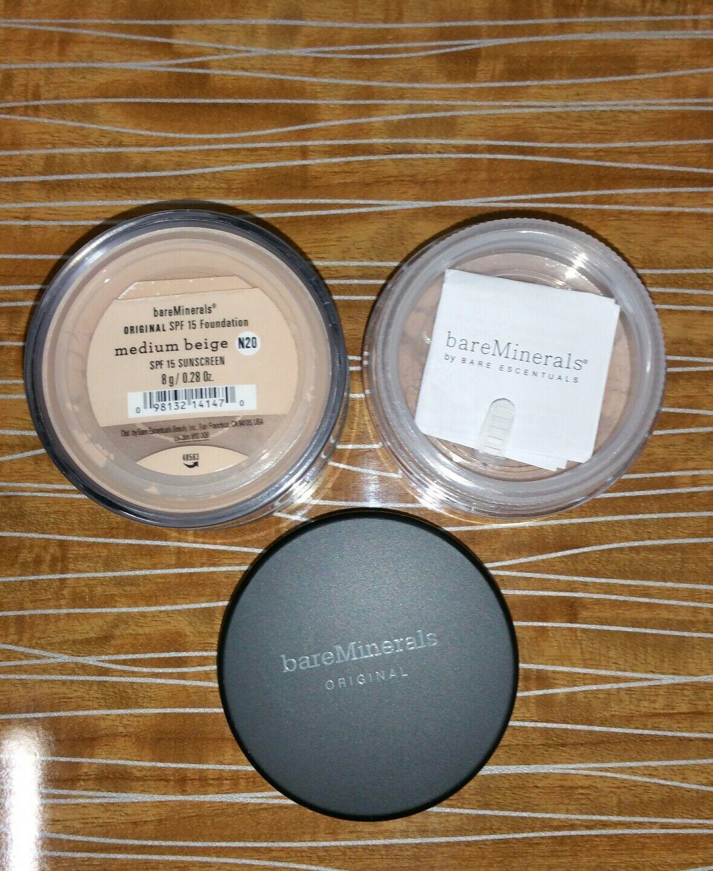 PACK OF 2 Bare Minerals Escentuals SPF 15 MEDIUM BEIGE - N20 8g XL