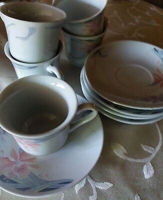 10 teiliges Espresso Set floral Porzellan weiß Blumen Tee  Floral Tee-set
