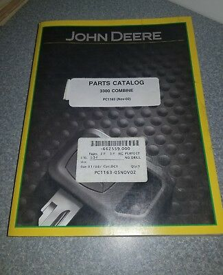 John Deere 3300 Combine Parts Catalog Manual Book Free Shipping