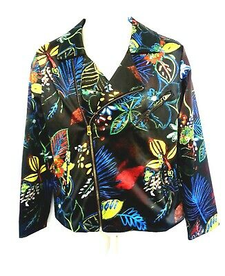 Chico's Womens Size 1 Jacket Brown Blue Yellow Pink Floral Zip Up