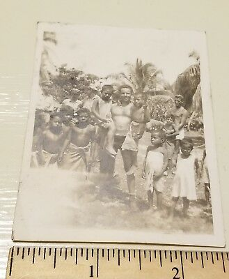 1943-1944 USMC VMF-111 Makin Island MARINES with Butaritari Native Islanders WW2