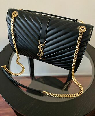 AUTHENTIC YSL Classic Large Monogram Saint Laurent Black Purse Leather Bag