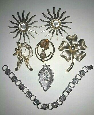 Lot 7 Sarah Coventry bracelet pin brooch earrings clip Pendant -
