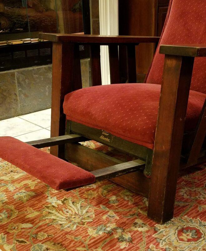 Antique Oak Chair Morris recliner with Slumber footrest