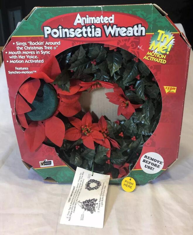 Vtg 1998 Gemmy Wreath Poinsettia Animated Singing Christmas Wreath  Mouth Moves