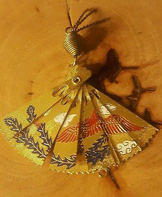 Stunning Vintage Ornate Asian Floral Bird Fan Design Fob Charm! No Scrap 3.7gr