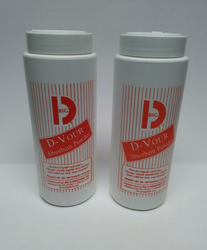Big D Industries D-Vour Absorbent Powder Canister 16oz Lot of 2 Free Shipping