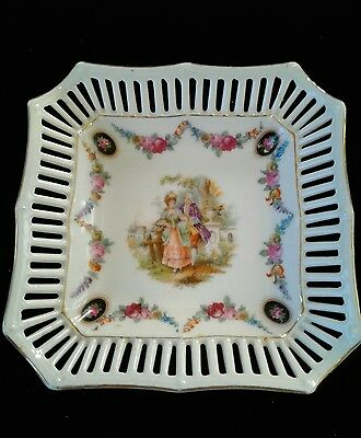 Antique Dresden Bavarian riticulated pierced porcelain square dish cameos couple