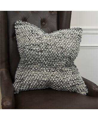 """Rizzy Home Chunky Knit Wool / Cotton 20"""" Square Decorative Pillow Grey $328"""