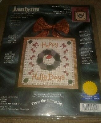 """Happy Holly Days"" Embroidery Kit Wreath  Christmas -Janlynn 57-202 Felt 2000"