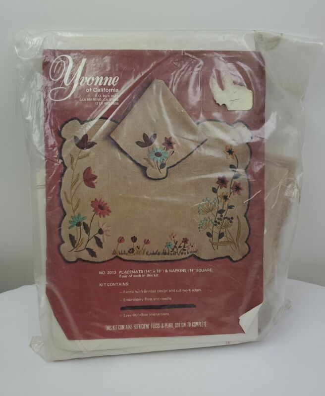 Yvonne Of California  Stitch  Placemats and Napkins Kit 1977