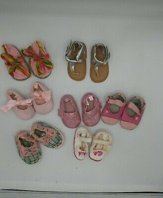 Size 1 /3 (0-6 Months)  Baby Girl Shoes Lot Adorable 7 pair