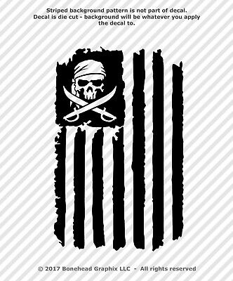 Pirate Skull Distressed Flag Grunge Jolly Roger Vinyl Decal Sticker - 25 Colors (Pirate Stickers)
