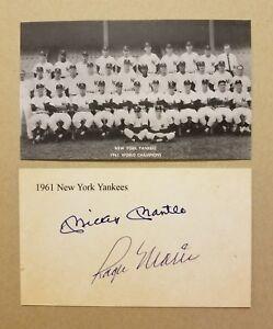 25 Yankees 1961 Team 3X5 Mickey Mantle & Maris Autos *BUY 1 LOT PICK 1 LOT FREE